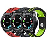 Gear S3 Band, KADES Soft Silicone Band Replacement Strap with Quick Release Pin Stainless Steel Buckle for Gear S3 Frontier and Gear s3 Classic Smart Watch - Black/Gray, Black/Green, Red/Black