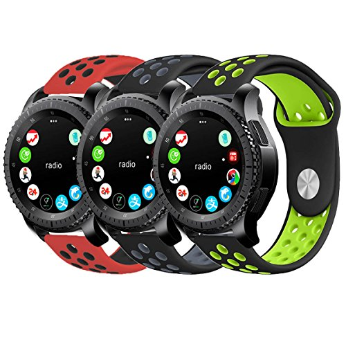 Gear S3 Band, KADES Soft Silicone Band Replacement Strap with Quick Release Pin Stainless Steel Buckle for Gear S3 Frontier and Gear s3 Classic Smart Watch - Black/Gray, Black/Green, Red/Black by KADES