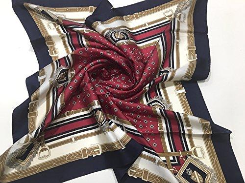 MARUYAMA 실크 스카프 #ST889067 Coat of Arms,일본제(MADE IN JAPAN),실크능직, 88x88cm,브랜드 케이스 들어감 (레드)