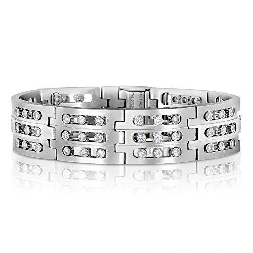 Estate Gold Bracelet (14K White Gold Men's Diamond link Bracelet Rolex Style , 3.4 CTW Sliding Diamonds, 18 mm wide, 8 in.)