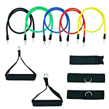 Ranphykx Resistance Band Set with Door Anchor, Handles, Ankle Straps, Exercise Chart & Resistance Band Carrying Case