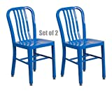 Classic Industrial Style Metal Frame School Restaurant Dining Chair Indoor Outdoor Furniture Blue #1057