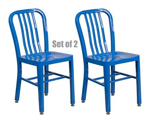 Classic Industrial Style Metal Frame School Restaurant Dining Chair Indoor Outdoor Furniture Blue #1057 by Koonlert@shop