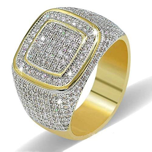 cherrycherish Men Ring, 18K Gold Simulated Diamond Band Wedding Band Rings Engagement Ring Bling Hip Hop Ring Wedding Jewelry (A, 6) from cherrycherish