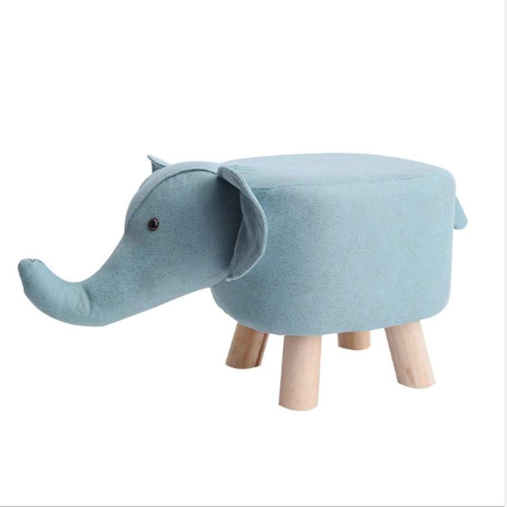 Tierhocker F/ür Kinder Elefant Massivholz Kreativer Hocker F/ür Familien Kinderzimmer Wohnzimmer Schlafzimmer Blau