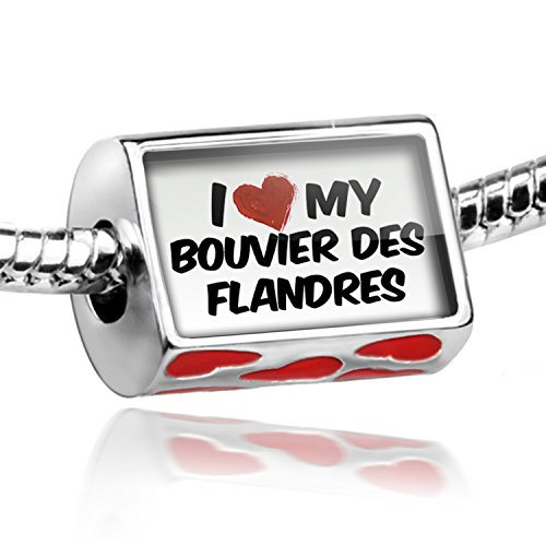 NEONBLOND Bead with Hearts I Love my Bouvier des Flandres Dog from Belgium - Charm Fit Al ()