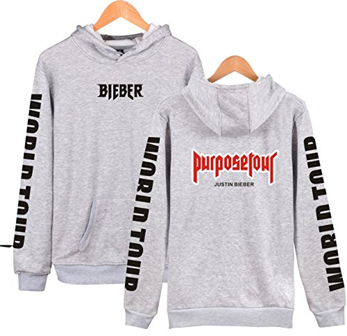 SERAPHY Unisex Pullover Justin Bieber Hoodie Purpose Tour Bieber World Tour sweatshirt for Women/Men Grey L