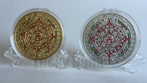 2 Mayan Calendar (1 silver plated, 1 gold plated) Collectible Challenge Coins in clear case and display stand, Poker Card Guard, Golf Ball Marker, paperweight + free sticker by Lucky Donk (Ball Marker Card)