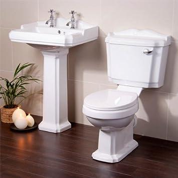 Toilet Basin Sink Set Bathroom Suite White Ceramic Part 48