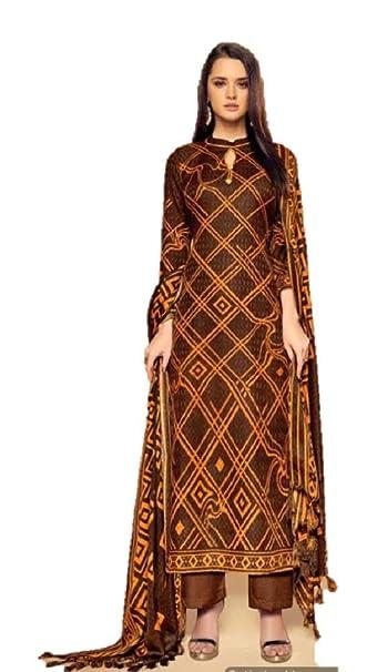 435775560c RIWAAYAT TRENDS Pure pashmina digital printed winter unstitched salwar  kameez suit with printed bordered pashmina shawl Dupatta - Free size, ...