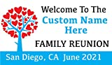Family Reunion Custom Printed Banner - Tree Hearts Blue (10' x 5')