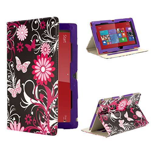 32nd® Design book wallet PU leather case cover for Nokia Lumia 2520 + screen protector and cleaning cloth - Gerbera