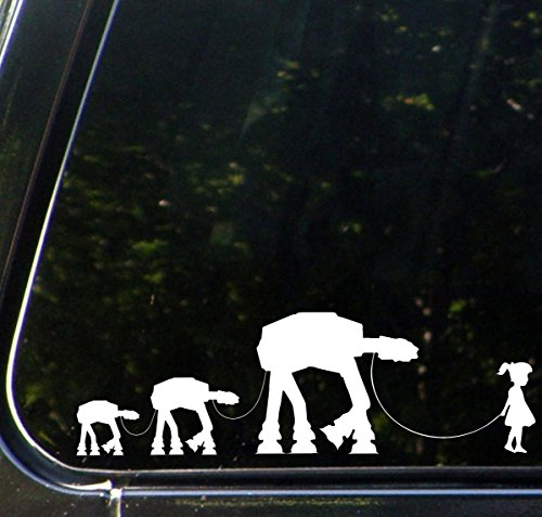 Yadda-Yadda Design Co. Girl Walking Robot Family - Car Vinyl Decal Sticker - (22