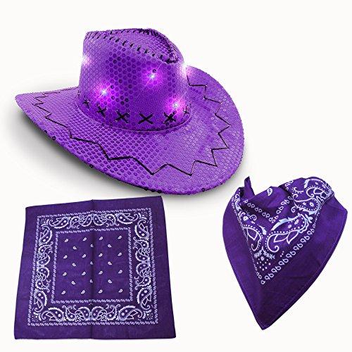 Premium LED Light-UP Cowboy Hat & Bandana Set (Purple LED Cowboy Hat & Bandana Set) (Cowboy Hat Sequin)