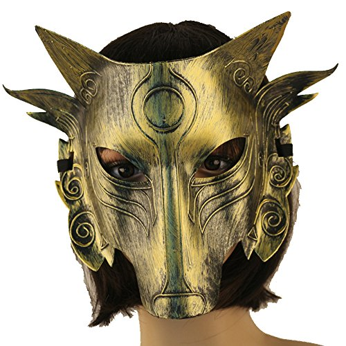 Partyfareast Cosplay Wolf Costume Mask Full Face Mask for Men Women (gold) for $<!--$7.79-->