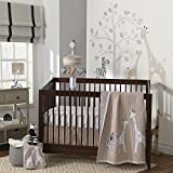 Lambs & Ivy Elias 3 Piece Crib Bedding Set, Cream/Tan/Gray White