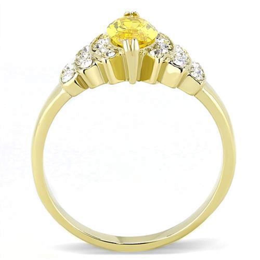 WildKlass Stainless Steel Ring IP Gold Women AAA Grade CZ Topaz Ion Plating