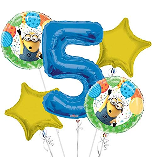 Minions Despicable Me Balloon Bouquet 5th Birthday 5 pcs - Party Supplies]()