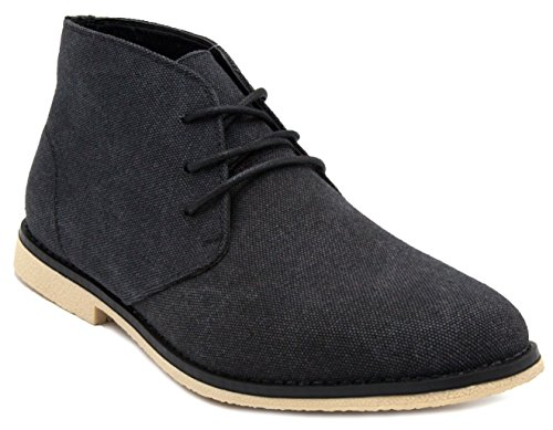 London Fog Mens Broadstreet Chukka Boot Black Canvas 9.5 M US