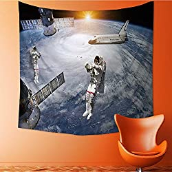 AuraiseHome Art Hippie Tapestry astronauts space shuttle and station in outer space elements of this Bedspread Picnic Bedsheet Tapestry32W x 32L Inch