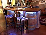 Wine Barrel Bar with Hardwood Bar Top