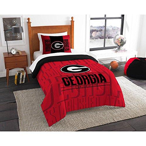 Northwest NCAA Georgia Bulldogs Ultimate 10pc Ensemble: Includes twin comforter, sham, twin flat sheet, twin fitted sheet, pillowcase, rug, toss pillow, throw, two curtain panels (Northwest Georgia Bulldogs Pillow)