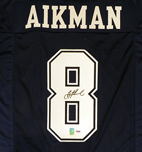 DALLAS COWBOYS TROY AIKMAN AUTOGRAPHED BLUE JERSEY PSA/DNA STOCK ()