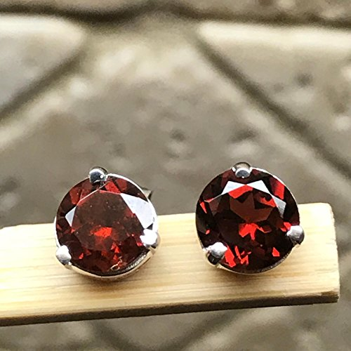Natural 2ct Pyrope Garnet 925 Solid Sterling Silver Round Earrings 6mm
