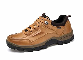 481ac897b7a1 GLSHI Men Outdoor Hiking Shoes Mens Trainers Low Rise Walking Shoes  Comfortable Breathable Leather Camping Sneaker