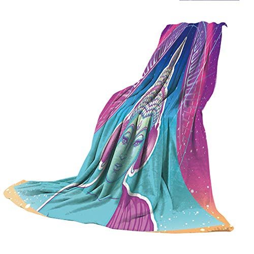 (SCOCICI Creative Flannel Printed Blanket for Warm Bedroom,Indie,Ethnic Religious Figure with Headphones Psychedelic Trance Music Vintage Decorative,Pink Pale Blue Peach,47.25