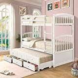 Twin Over Twin Bunk Bed with Safety Rail, Ladder, Twin Trundle Bed with 3 Drawers for Kids, Teens Bedroom, Guest Room Furniture by Harper&Bright Designs (White)