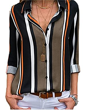 Womens Long Sleeves Shirts V Neck Button Up Striped Casual Blouses Tops