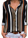 Womens Long Sleeve Summer Spring V Neck Button up Color Block Stripes Blouse Casual Tops and T Shirts for Jeans Under 20 XX-Large 18 20 Black