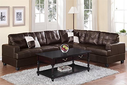 Poundex Bobkona Karen Bonded Leather 2-Piece Reversible Sectional Sofa, (Espresso Leather Sectional Sofa)