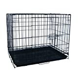 YML 24-Inch Foldable Light Duty Door Dog Crate with WireBottom Grate and Plastic Tray, Black