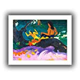 Paul Gauguin 'Fatata te Miti' unwrapped canvas is a high-quality canvas print that captures nude Tahitian women frolicking in the surf. Bold colors and flattened images are typical of Gauguin's style during this period. Eugene Henri Paul Gauguin was ...
