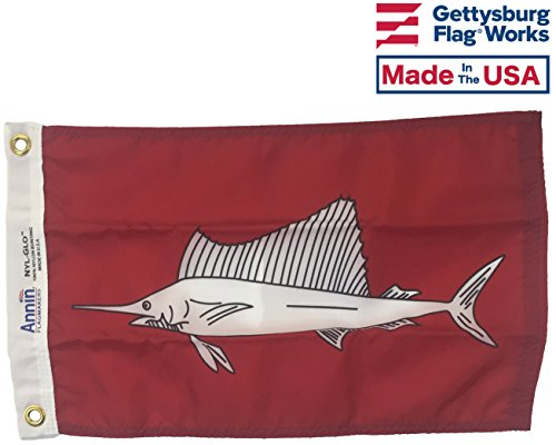 12x18 Sailfish Boat Fishing Flag ,Durable All-Weather Nylon with grommets for Outdoors, Made in USA