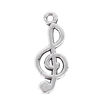 a49b5d9f7ac0 100 pcs Dije Nota Musical Plata Antigua Colgante Pendiente Encanto para  Collares Pulseras Joyería Bricolaje DIY  Amazon.es  Hogar