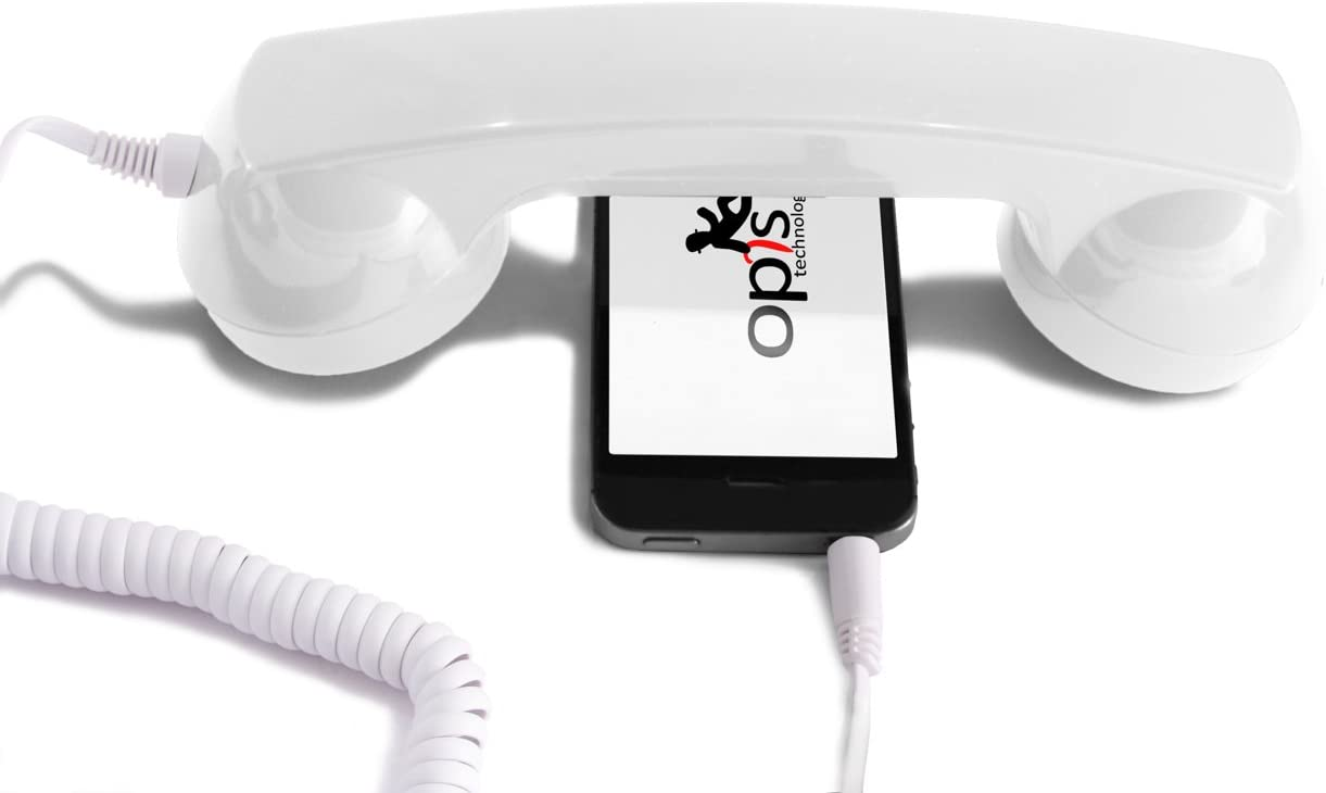 OPIS 60s Micro: Retro handset/Vintage handset/Retro Receiver/Mobile handset for iPhone, Galaxy, Huawei and All Modern Smartphones (White)