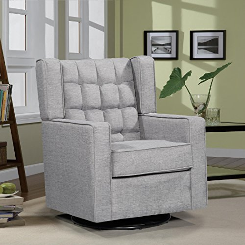 Oliver Smith - Roosevelt Collection - Contemporary Microfiber Mordern Sofa Chair Swivel Gliding Glider Sofa Arm Chairs 15016 Dark Grey