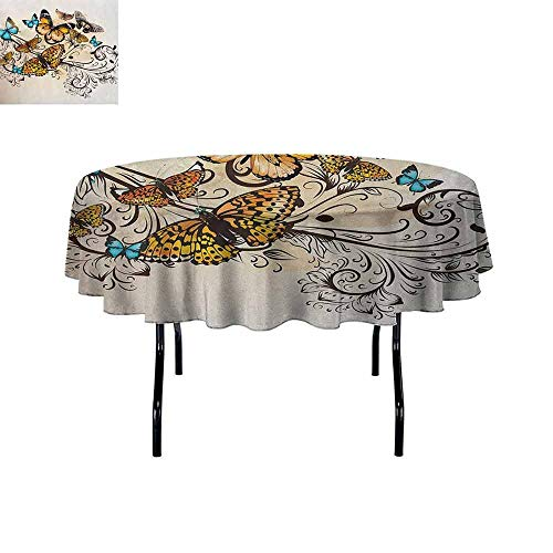 - DouglasHill Butterfly Easy Care Leakproof and Durable Tablecloth Monarch Butterflies Vintage Artsy Damask Inspired Artistic Design Outdoor Picnic D47 Inch Pale Brown Sky Blue Black