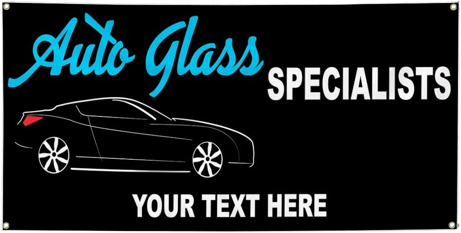 Custom Industrial Vinyl Banner Multiple Sizes Auto Glass Specialists Personalized Text Automotive Outdoor Weatherproof Yard Signs Black 10 Grommets 56x140Inches
