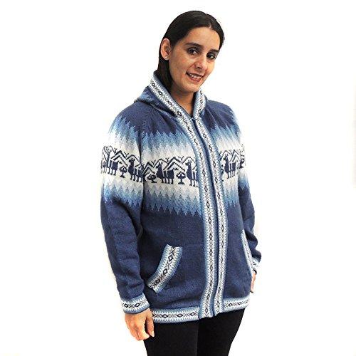 Cardigan Sweater Hoodie Zip Pockets Alpaca Blend Unisex Made in Peru Large Steel