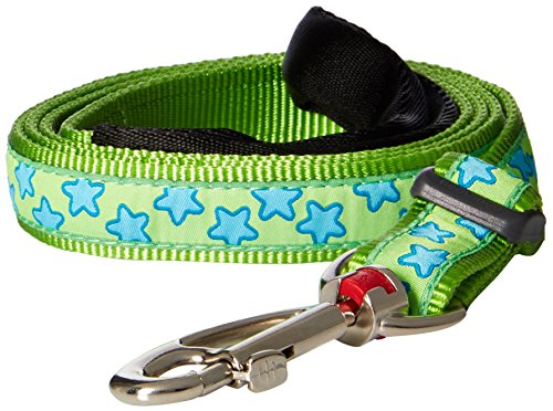 Red Dingo Lime Green with Blue Stars Dog Lead, Large