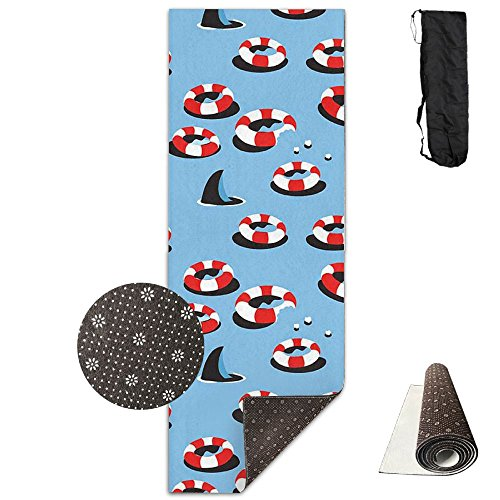 Non Slip Yoga Mat Shark Town Premium Printed 24 X 71 Inches Great For Exercise Pilates Gymnastics Carrying Strap -