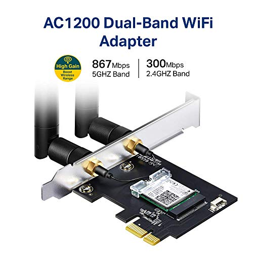 TP-Link AC1200 PCIe WiFi Card for PC (Archer T5E) - Bluetooth 4.2, Dual Band Wireless Network Card (2.4Ghz and 5Ghz) for Gaming, Streaming, Supports Windows 10, 8.1, 8, 7 (32/64-bit)