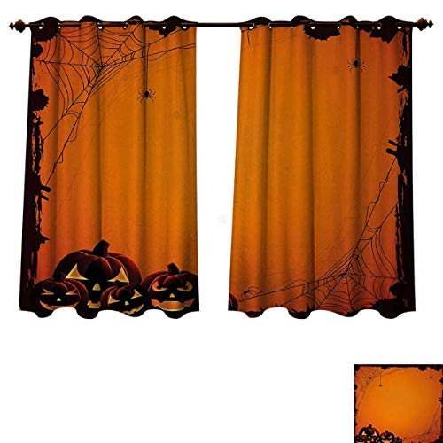 Anzhouqux Halloween Blackout Thermal Backed Curtains for Living Room Grunge Spider Web Jack o Lanterns Horror Time of Year Trick or Treat Print Window Curtain Fabric Orange Seal Brown W63 x L45 inch