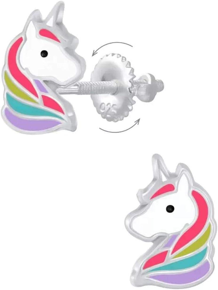 La Rosa Princesa – Pendientes de unicornio para niños, pendientes de plata de ley 925 – cierre de rosca