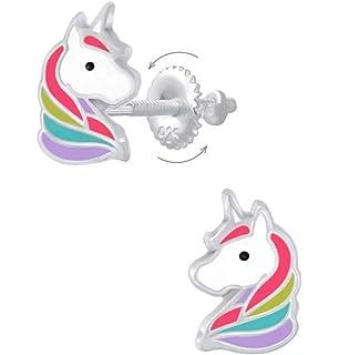 INTVN Unicornio Pendientes Ni/ña Plata de ley 925 con Circonita Peque/ños Arete Piercings Rectos Oreja Hipoalergenicos