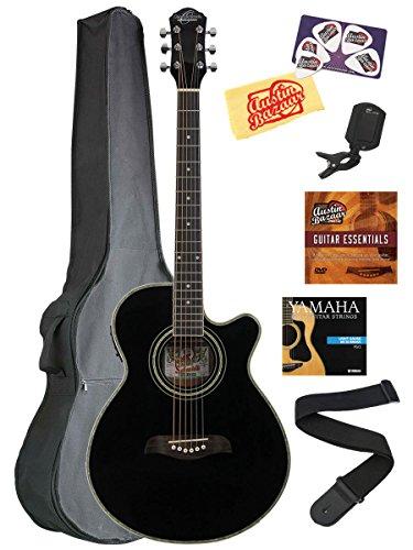 Oscar Schmidt OG10CE Concert Cutaway Acoustic-Electric Guitar Bundle with Gig Bag, Austin Bazaar Instructional DVD, Clip-On Tuner, Strap, Strings, Picks, and Polishing Cloth - Black (Guitar Acoustic Concert)